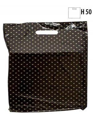 Plastpose m/ guldbladet mønster - 200 stk.