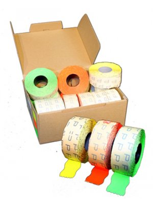 Prisetiketter 2 linier - neonfarver
